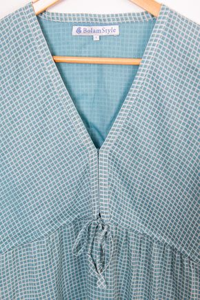 Empire dress in soft blue check cotton