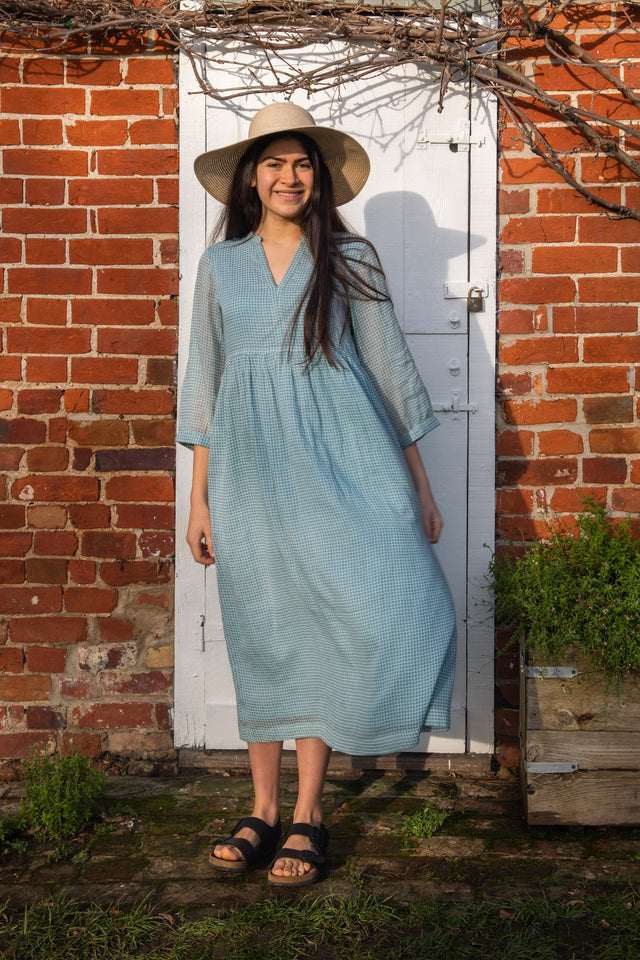 Hi waist dress in Light blue and white check cotton *one remaining