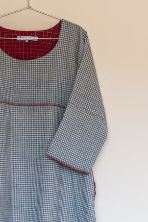 Smock Dress in check khadi