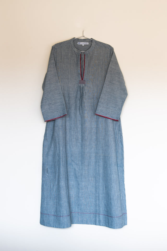 Classic dress in stripe khadi with red selvedge detail