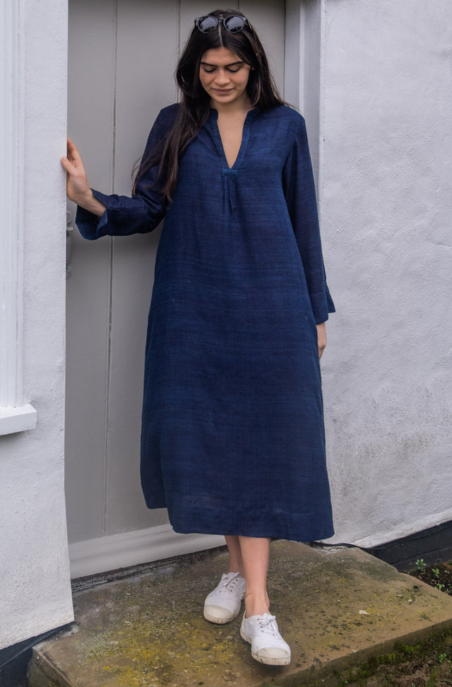 Natural Indigo Matka Silk Classic Dress