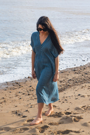 Shorter sleeve midi dress in silk cotton