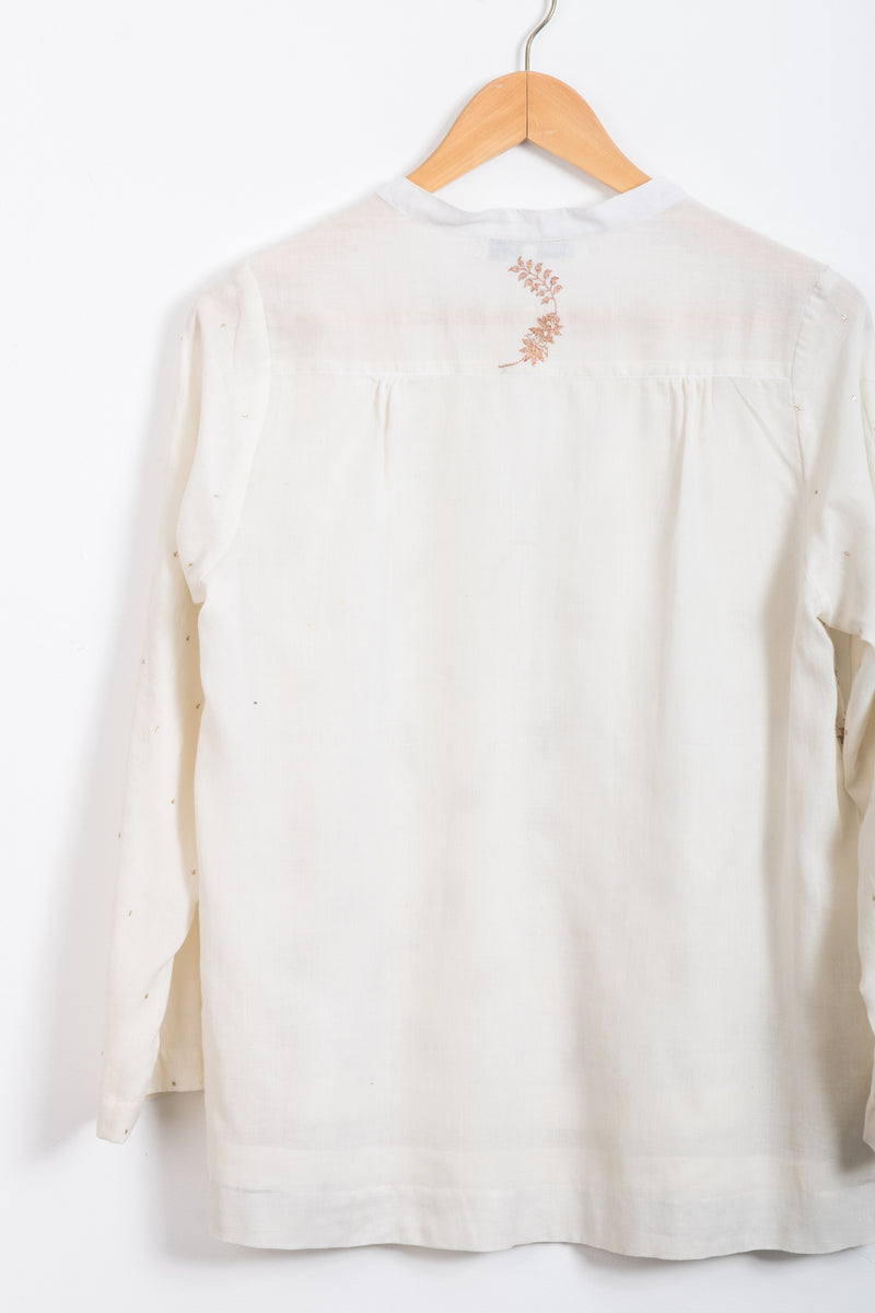 Hand embroidered ivory cotton classic top *xs only