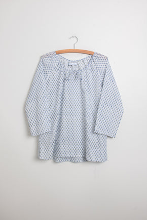 Peasant top in cotton blockprint