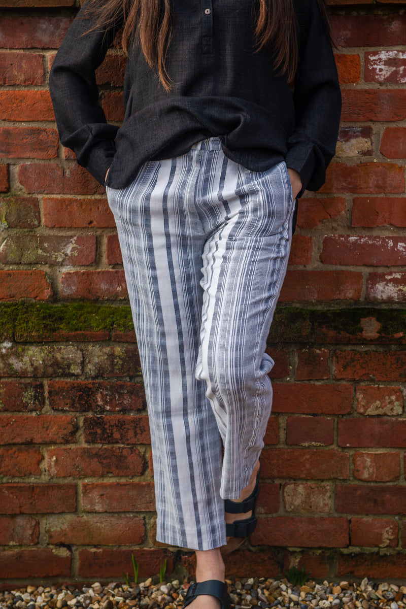 Easy leg crop trouser in lined soft blue stripe cotton