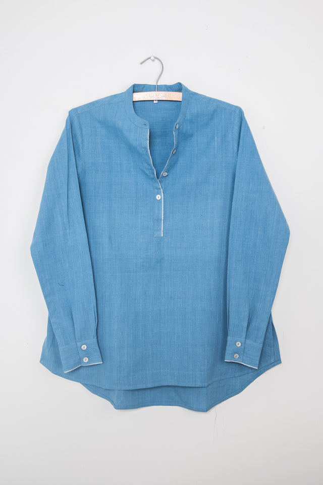 Sky Blue Khadi Long Back Shirt
