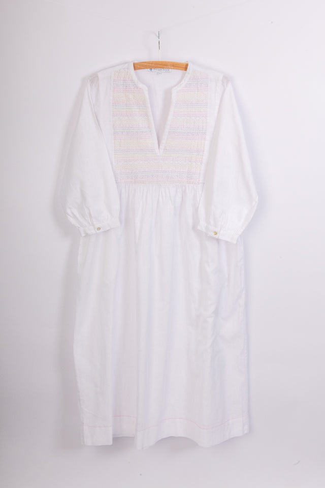 White khadi cotton v neck dress with smocking stitch