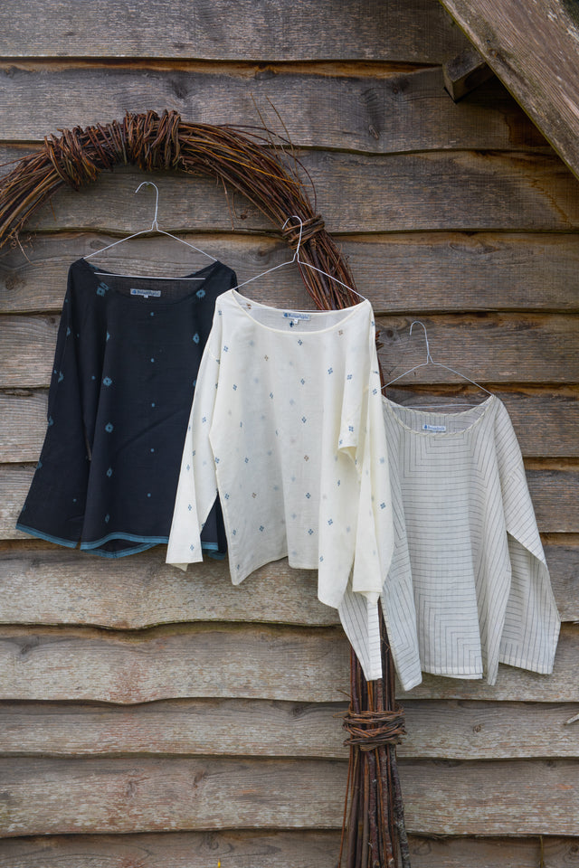 Light jamdani/khadi boxy tops