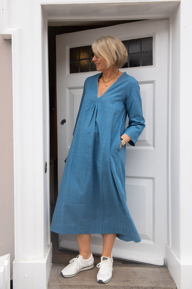 Simple v neck dress in sky blue khadi