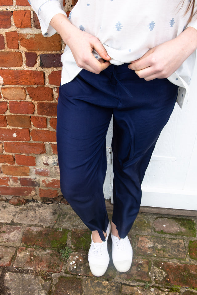 Indigo silk drawstring trousers
