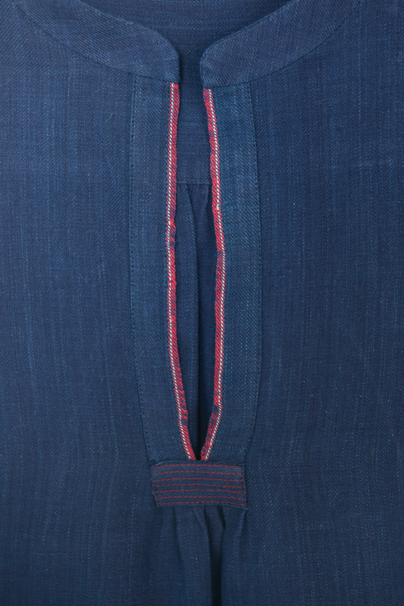 Classic Dress in Deep Indigo Khadi with Red Selvedge