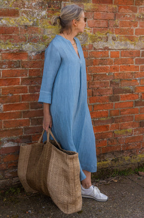 classic dress in Sky blue silk linen with silver stitching