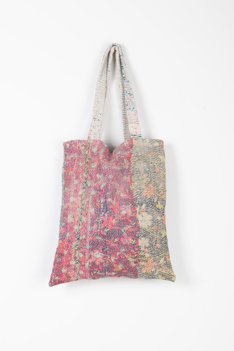Kantha Tote Bag in Faded Pink and Green