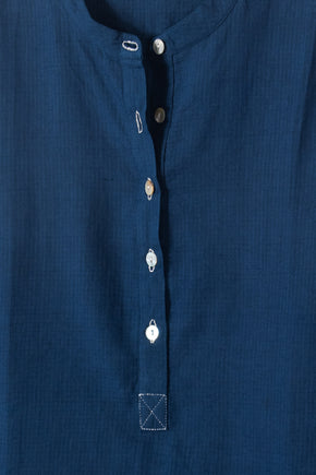 Long Back Shirt in Indigo mini check khadi *one remaining*