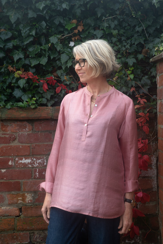 Long Back Shirt in handloom dusty pink silk