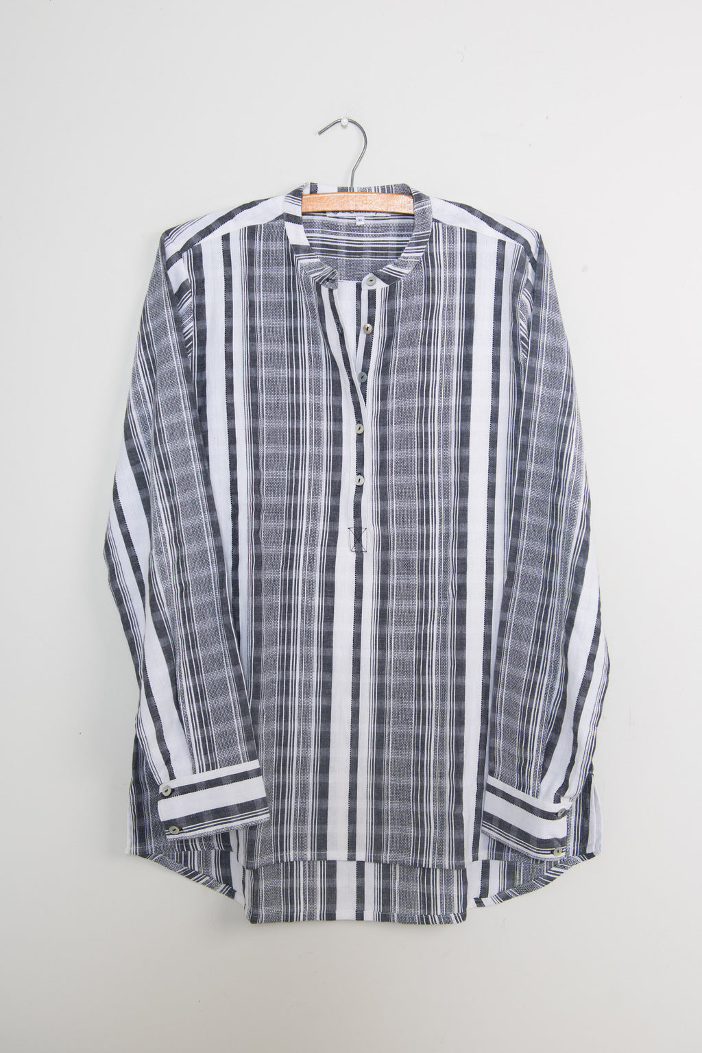 Long Back Shirt in Soft Black and White Stripe Cotton