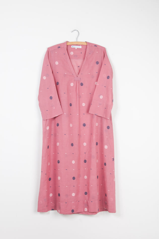 Simple V Neck Dress in Dusty Pink Jamdani