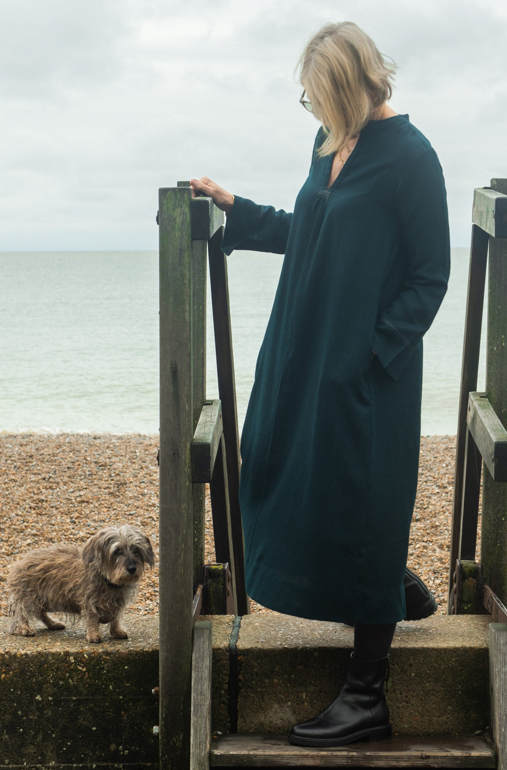 Classic dress in silk lined deep teal green  wool