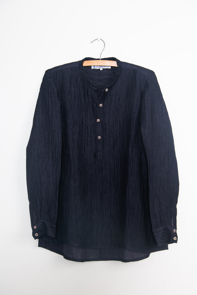 Textured silk linen long back shirt in deepest indigo