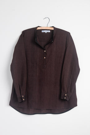 Long Back Shirt in Chestnut Khadi
