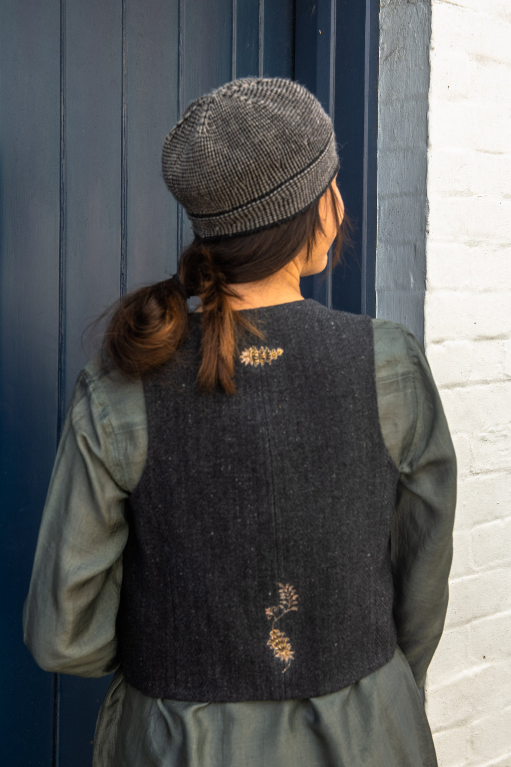 Embroidered wool waistcoat