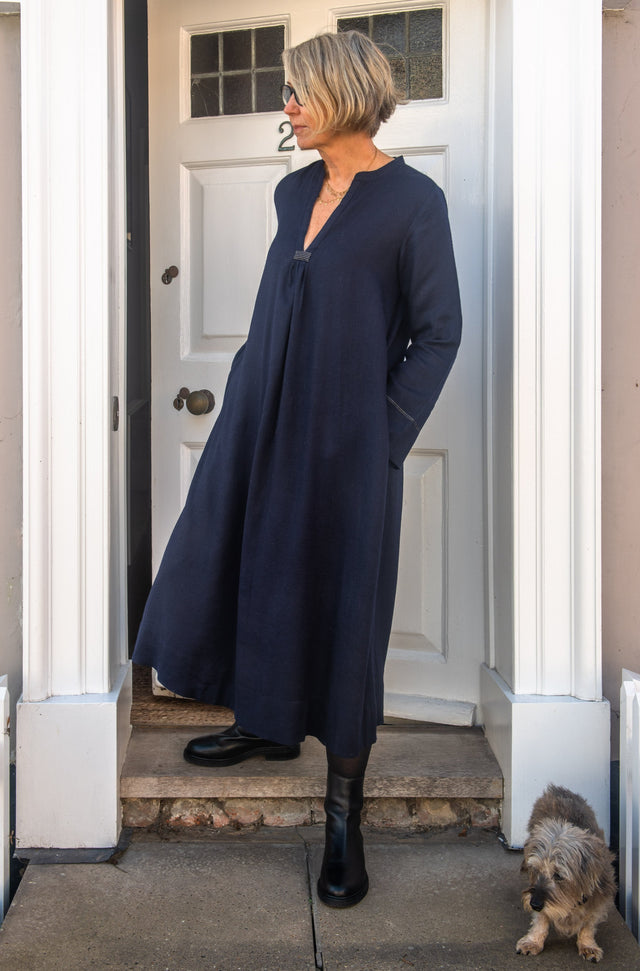 Classic dress in silk lined indigo wool