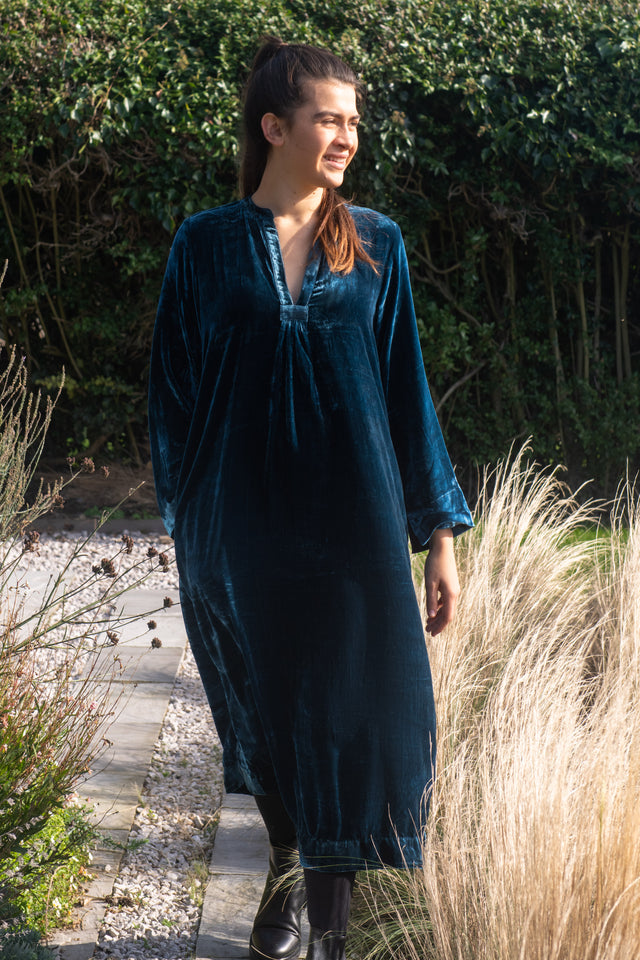 Classic Dress in Teal Blue Silk Velvet