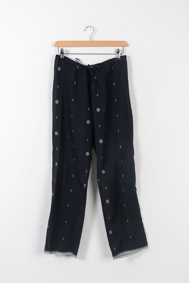 Black and white jamdani drawstring trousers *xs only