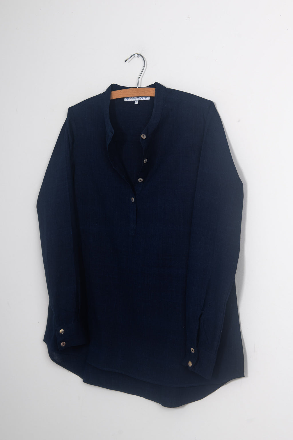 Long Back Shirt in Dark Indigo Khadi