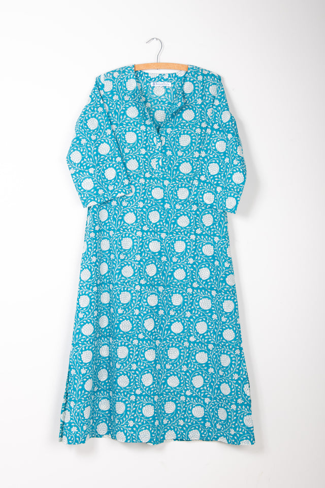 Turquoise and White Blockprint Cotton Kaftan *One remaining size XS