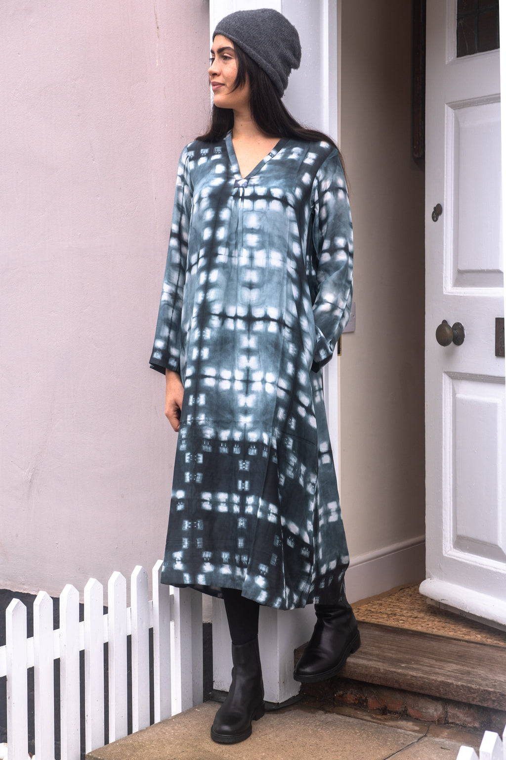 Simple V neck dress  in grey hand dyed shibori *one remaining*