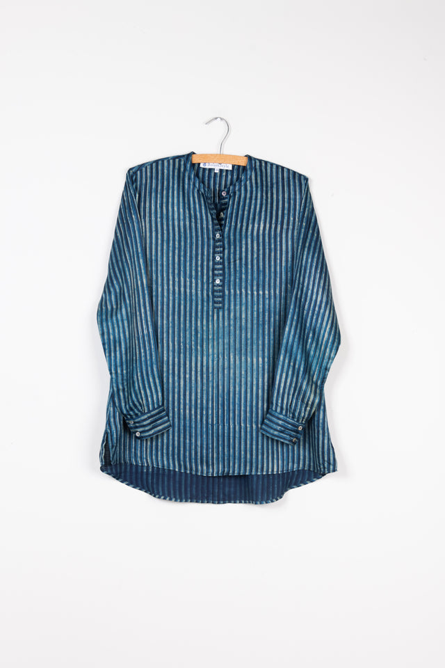 Long Back Shirt in Indigo Stripe Gajji Silk
