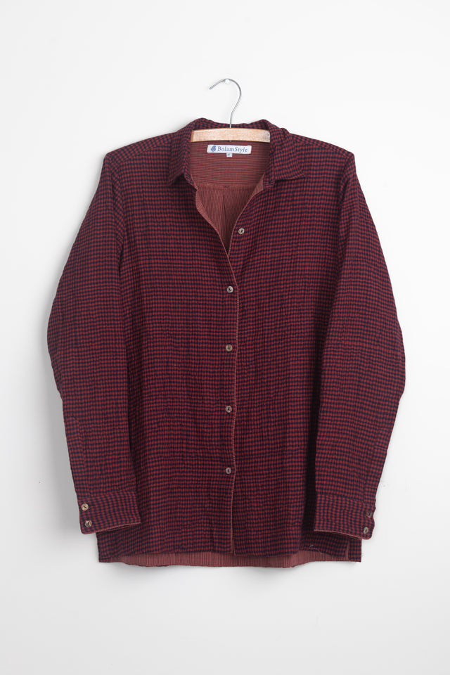 Red/Blue Cosy double layer khadi shirt jacket