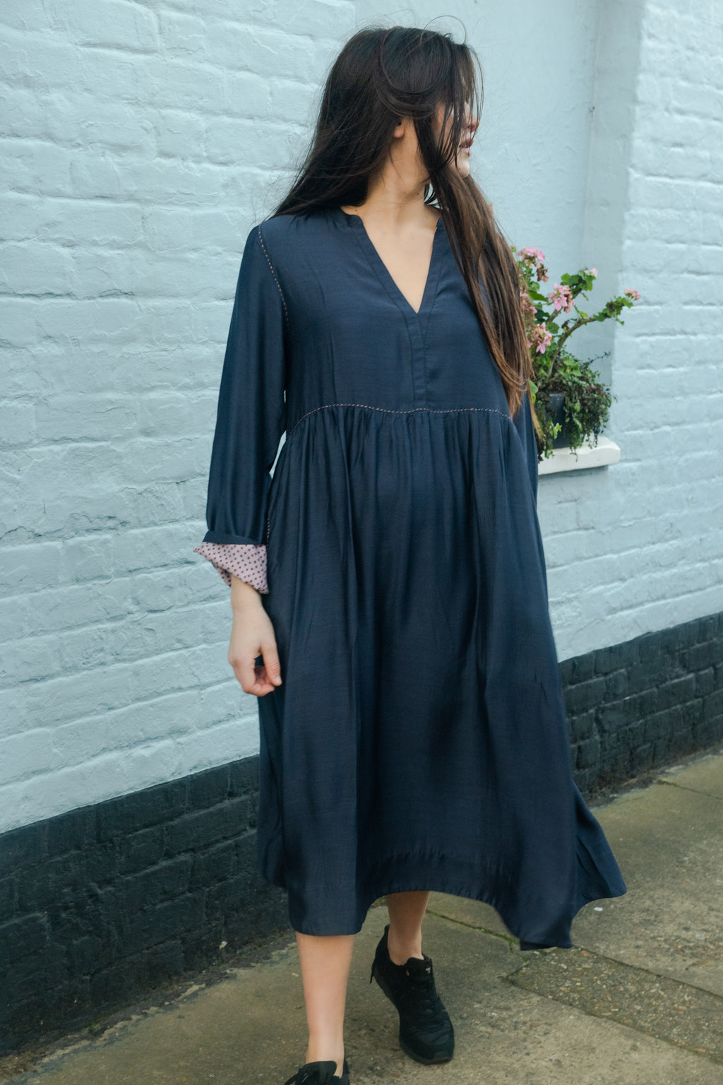 Indigo Silk Cotton Dress with Running Stitch