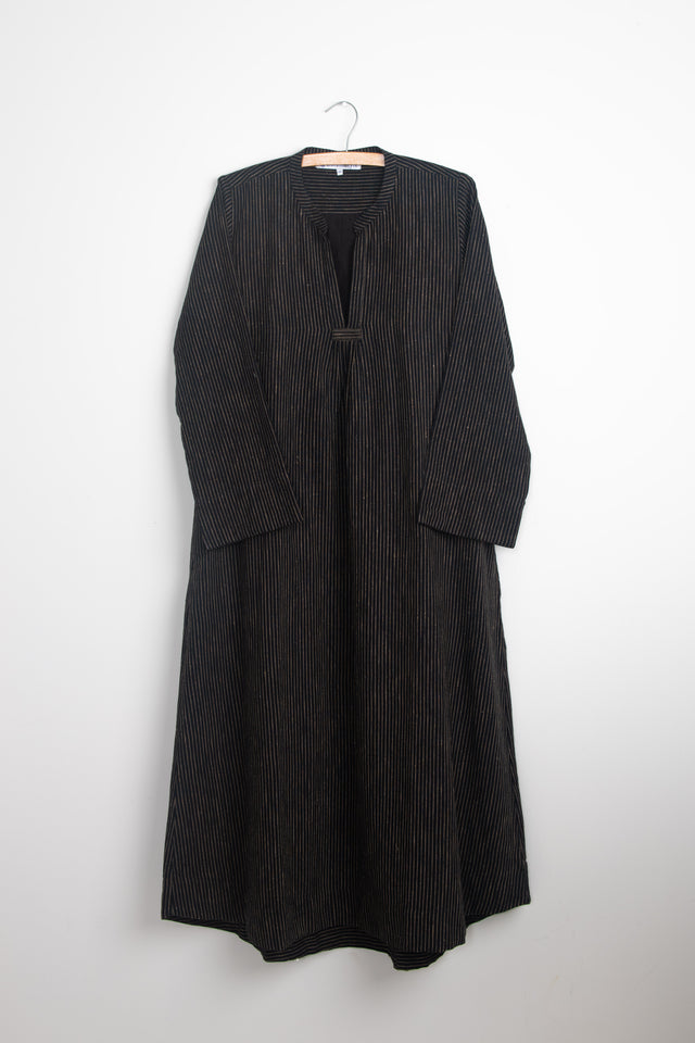 Classic dress in Black Stripe Khadi