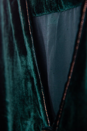 Simple V Neck Dress in Deep Green Silk Velvet