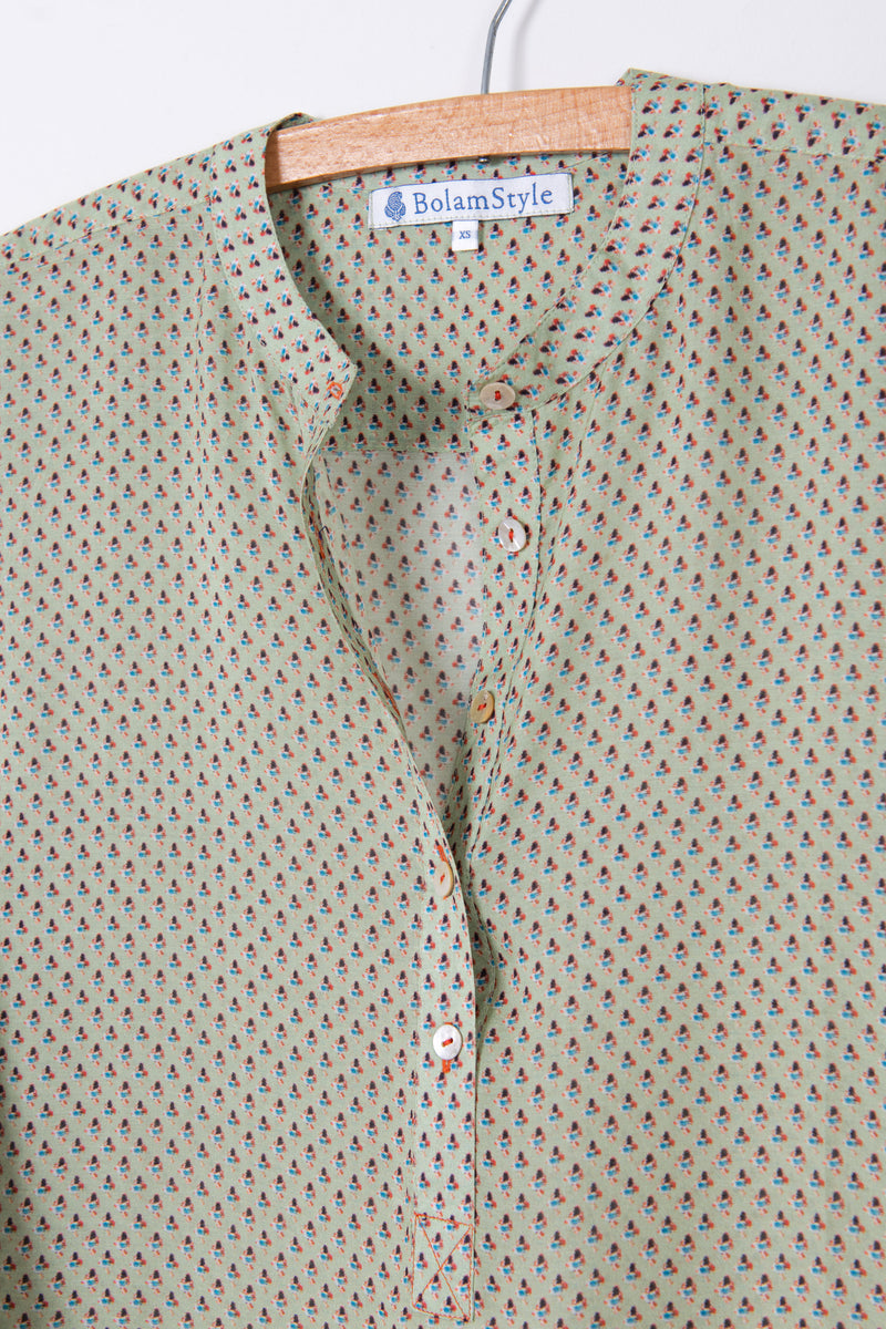 Long Back Shirt in Print Silk