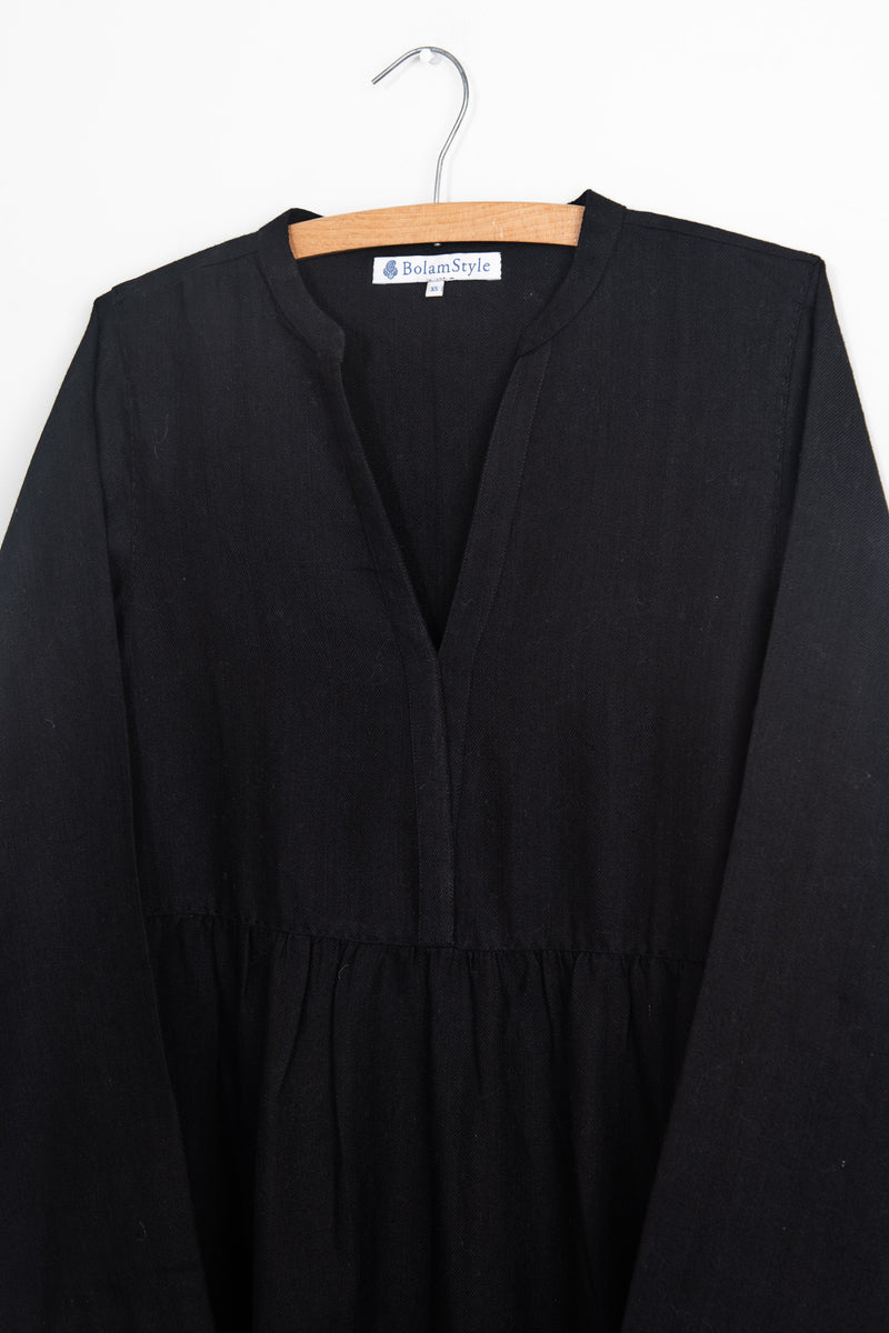 Soft Black Wool Cotton Dress with Running Stitch