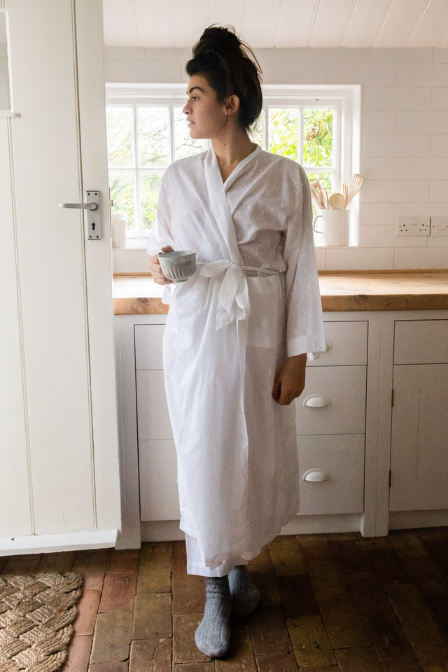 Textured White Cotton Dressing Gown