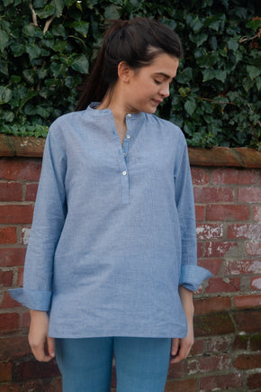 Mini Check Khadi Long Back Shirt