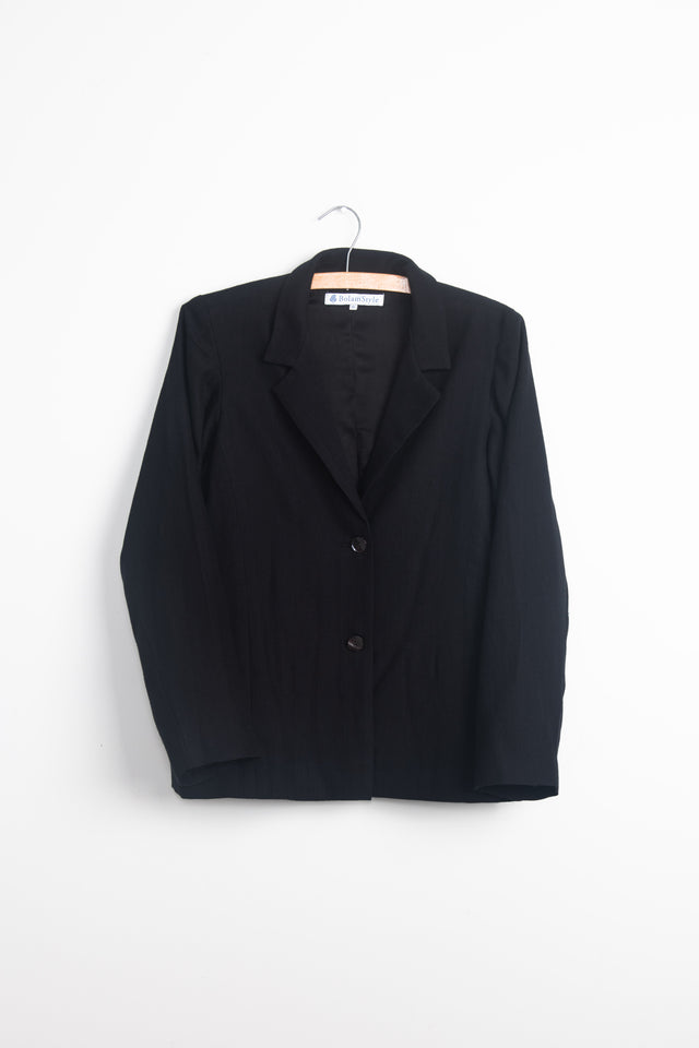 Relaxed jacket in lined black wool cotton