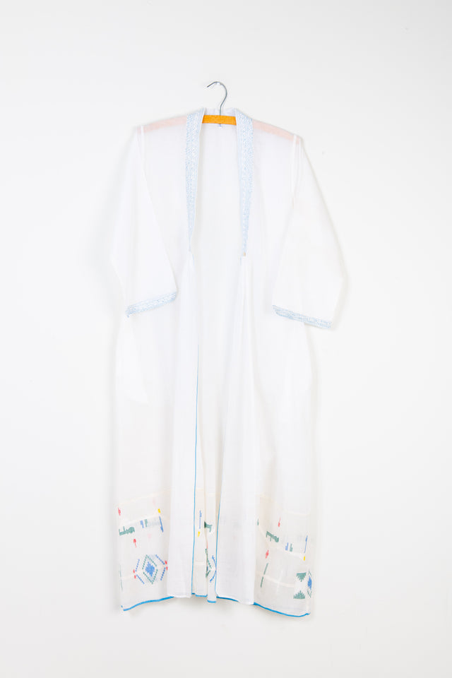 Lightweight Summer Cover-Up in White Jamdani