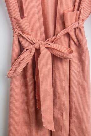 Pink Cotton Stripe Dressing Gown