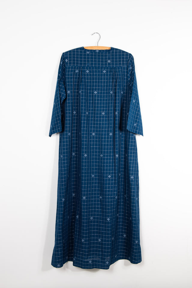 Simple V Neck Dress in Blue Jamdani with Silver Thread