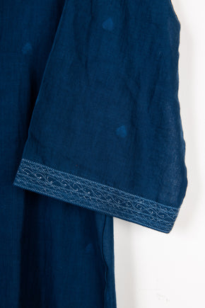 One Button Knee Length Coat in Mid Indigo Jamdani