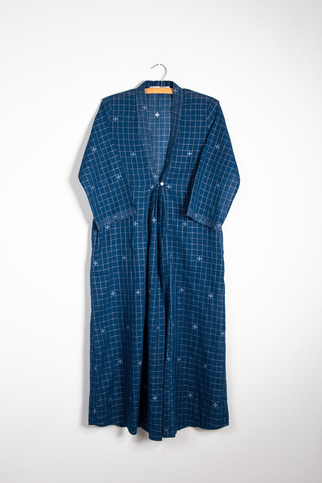 One Button Long Coat in Blue Jamdani with Silver Thread