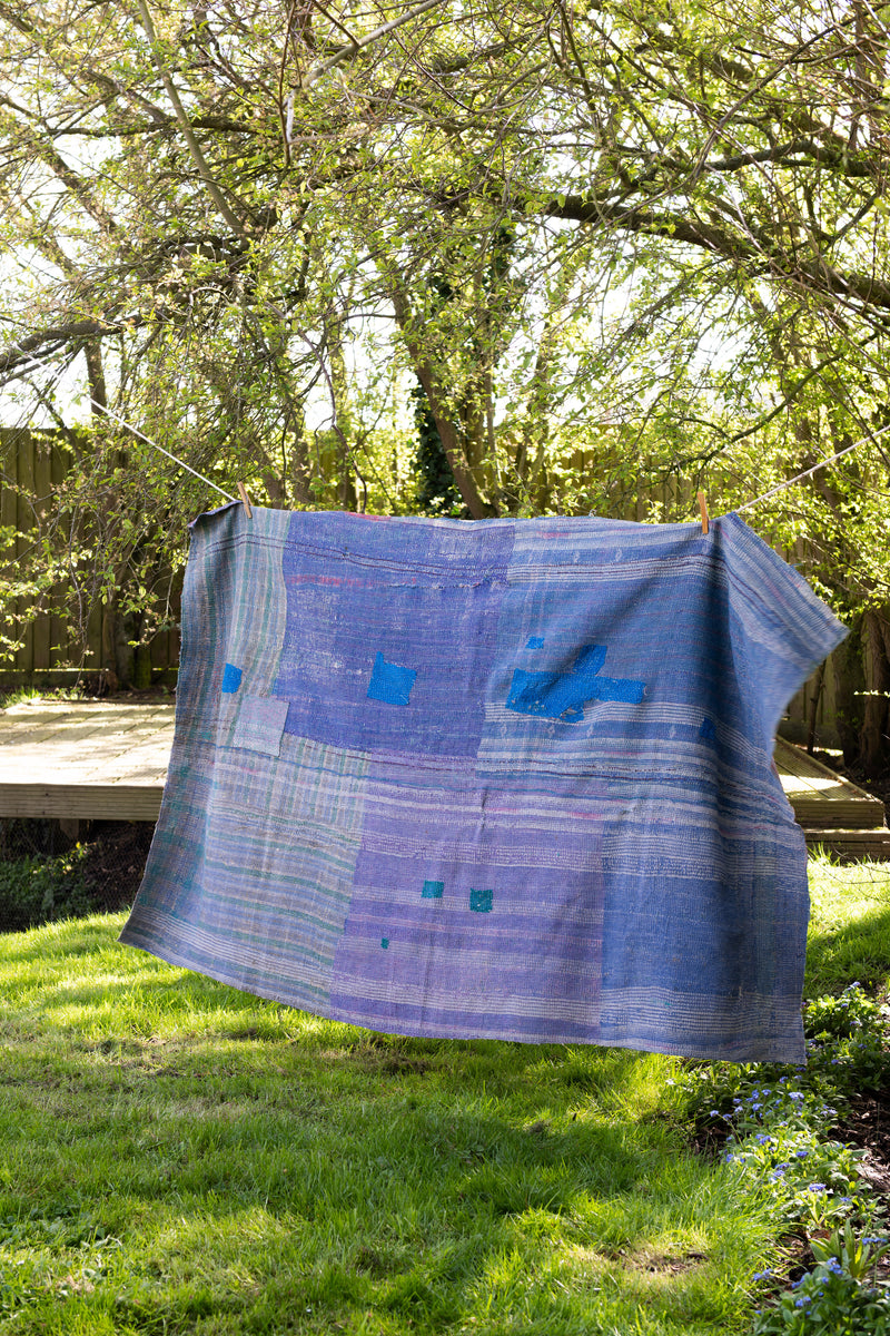 Vintage Soft Green and Lilac Kantha