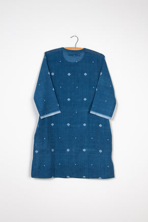 Tunic Dress in Fine Blue Jamdani