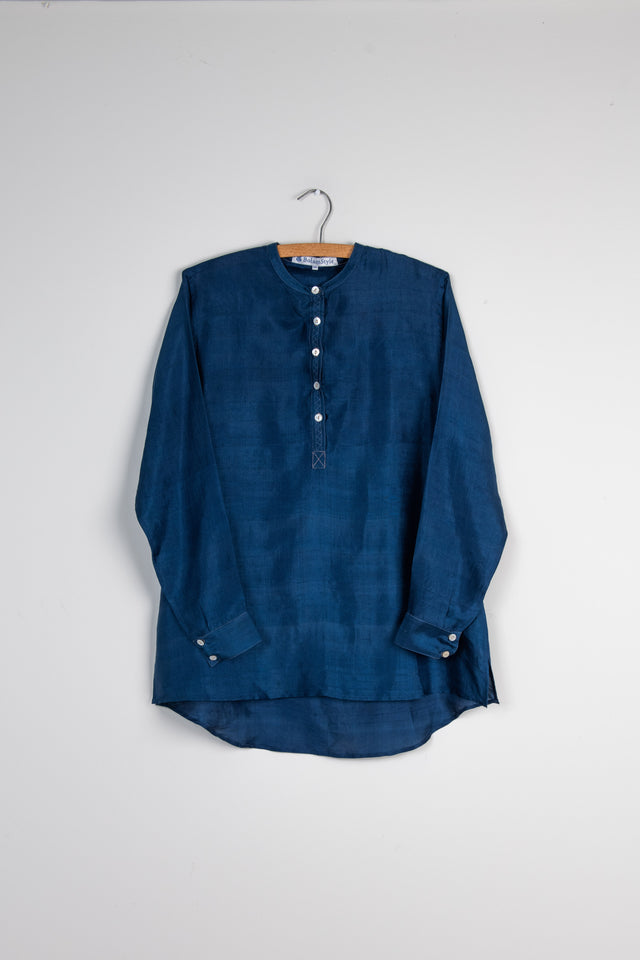 Long Back Shirt in Mid Indigo Silk