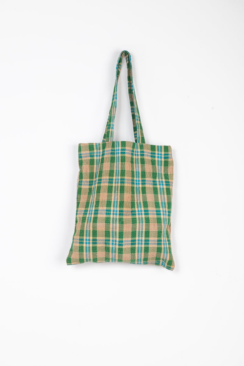 Kantha Tote in Green, Blue & Beige Plaid